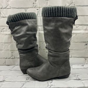 Call it spring grey boots with knit top